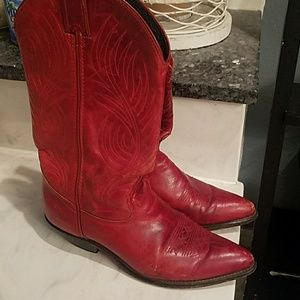 Vintage Red Cowgirl Leather Boots as 6.5